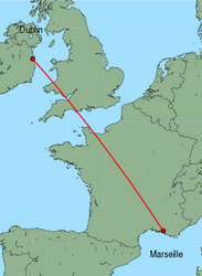 Map of route from Dublin to Marseille