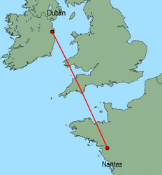 Map of route from Dublin to Nantes