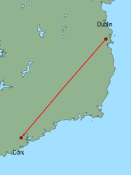 Map of route from Dublin to Cork