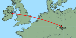 Map of route from Dublin to Prague
