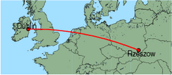 Map of route from Dublin to Rzeszow