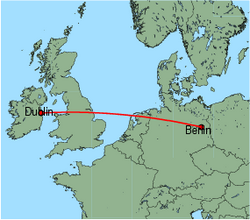 Map of route from Dublin to Berlin (Schoenefeld)