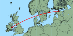 Map of route from Dublin to Tallinn