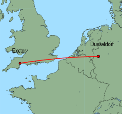 Map of route from Exeter to Dusseldorf