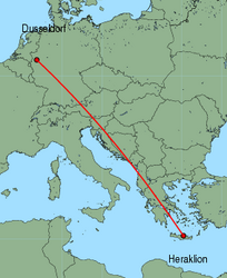 Map of route from Dusseldorf to Heraklion