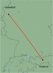 Map of route from Innsbruck to Dusseldorf