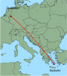 Map of route from Dusseldorf to Santorini