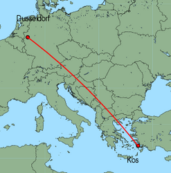 Map of route from Dusseldorf to Kos