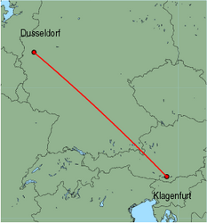 Map of route from Klagenfurt to Dusseldorf