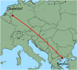 Map of route from Dusseldorf to Kavala