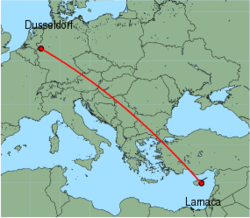 Map of route from Larnaca to Dusseldorf