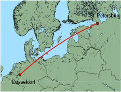 Map of route from St. Petersburg to Dusseldorf