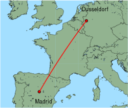 Map of route from Dusseldorf to Madrid