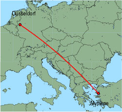 Map of route from Dusseldorf to Mytilene