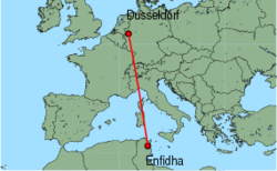 Map of route from Dusseldorf to Enfidha