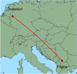 Map of route from Pristina to Dusseldorf