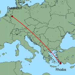 Map of route from Dusseldorf to Rhodos