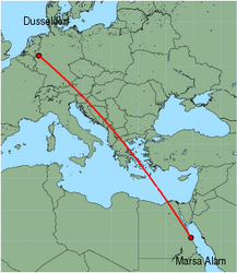 Map of route from Marsa Alam to Dusseldorf