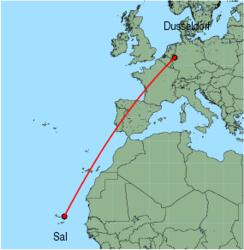 Map of route from Sal to Dusseldorf