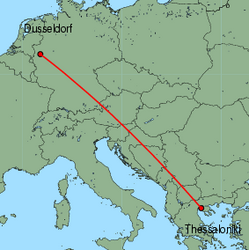 Map of route from Dusseldorf to Thessaloniki