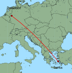 Map of route from Dusseldorf to Samos