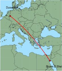 Map of route from Dusseldorf to Sharm El Sheikh