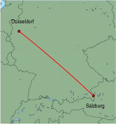 Map of route from Salzburg to Dusseldorf