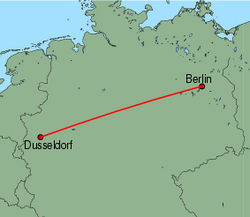 Map of route from Dusseldorf to Berlin (Tegel)