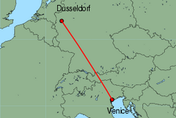 Map of route from Dusseldorf to Venice(MarcoPolo)