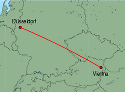 Map of route from Vienna to Dusseldorf