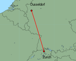 Map of route from Zurich to Dusseldorf