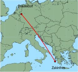 Map of route from Zakinthos to Dusseldorf