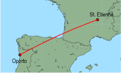 Map of route from Oporto to St. Etienne