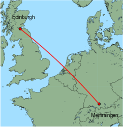 Map of route from Edinburgh to Memmingen