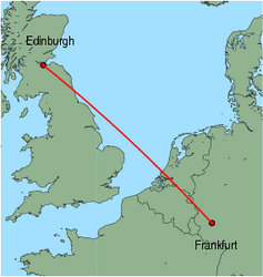 Map of route from Edinburgh to Frankfurt (Hahn)