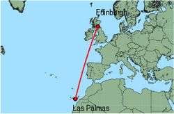 Map of route from Las Palmas to Edinburgh