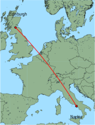 Map of route from Naples to Edinburgh