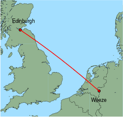 Map of route from Edinburgh to Weeze