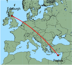 Map of route from Edinburgh to Paphos