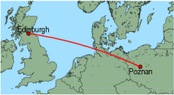 Map of route from Poznan to Edinburgh