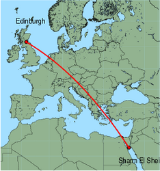 Map of route from Edinburgh to Sharm El Sheikh