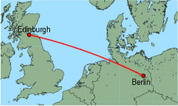 Map of route from Edinburgh to Berlin (Schoenefeld)