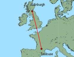 Map of route from Toulouse to Edinburgh