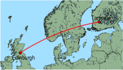 Map of route from Edinburgh to Tampere