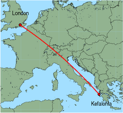 Map of route from London(Gatwick) to Kefalonia