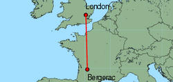 Map of route from London(Stansted) to Bergerac
