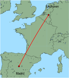 Map of route from Eindhoven to Madrid