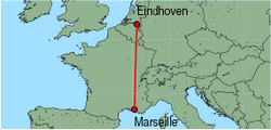 Map of route from Eindhoven to Marseille