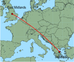 Map of route from Skiathos to East Midlands
