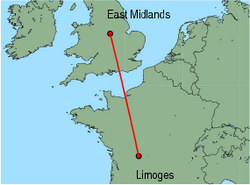 Map of route from EastMidlands to Limoges